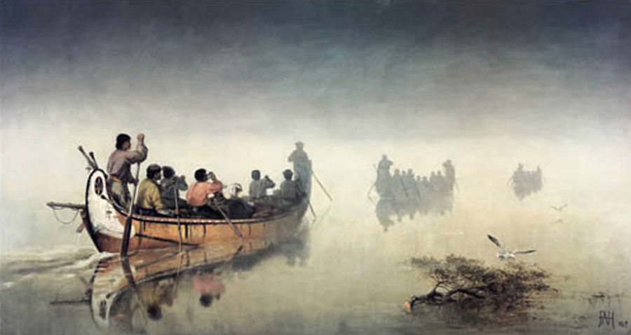 Frances Anne Hopkins, Canoes in a Fog, Lake Superior, 1869, Glenbow Museum