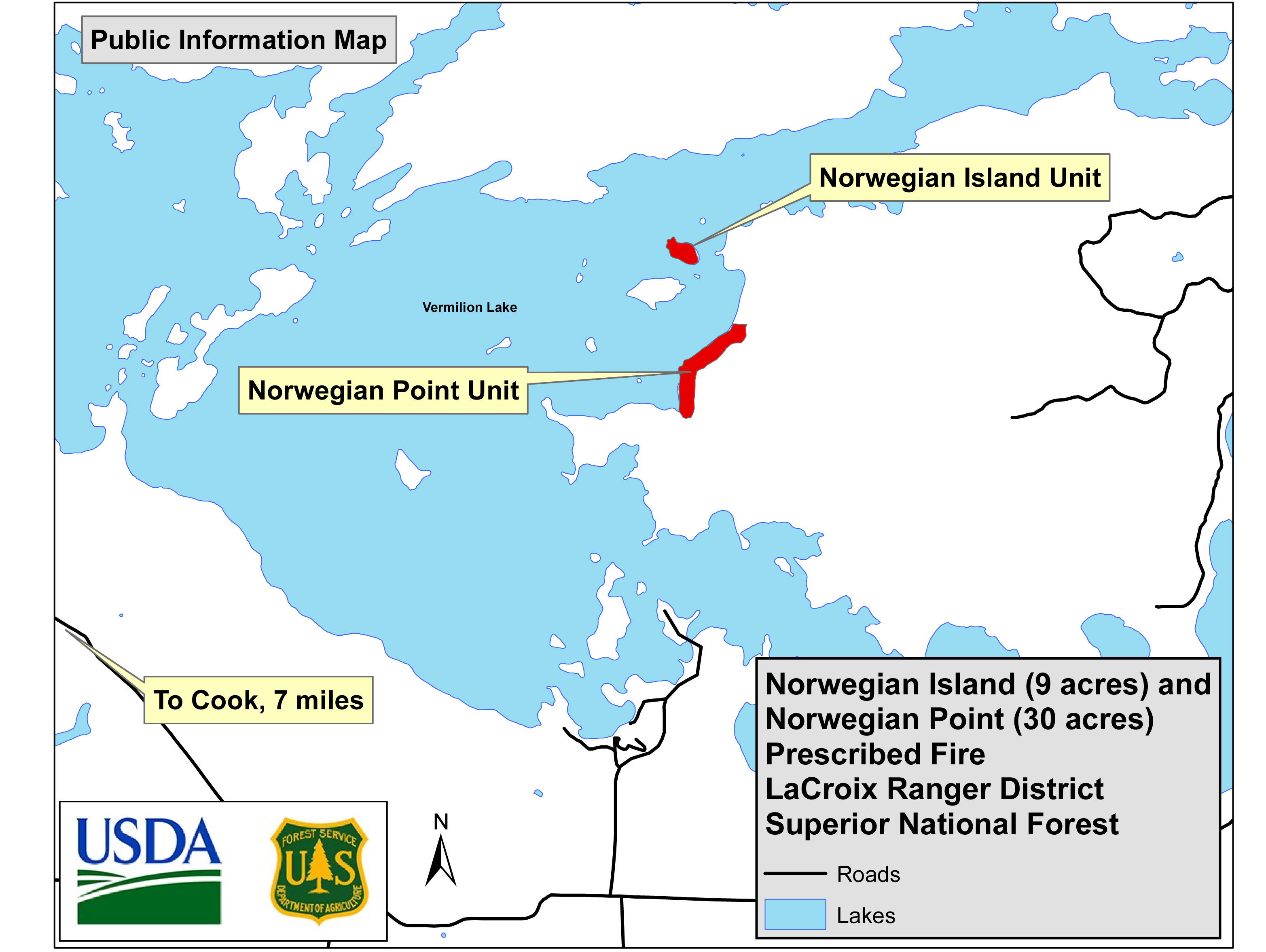A map showing the two locations of the USFS Norwegian Bay, Lake Vermilion 2018 prescribed burns.