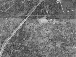 Townsite of Walsh, with the platted streets and blocks, from the St. Louis County Land Explorer, using 1937-1941 photo maps