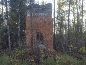 Brick fireplace for the North American Mine's engine room.