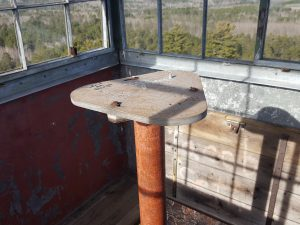The old compass mount in the top of the Jasper Peak Fire Lookout Tower.