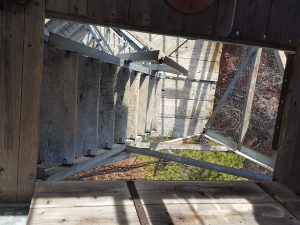 View down the top set of stairs from the top of the Jasper Peak Fire Lookout Tower.