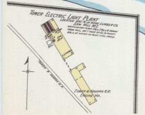 Inset section of Sanborn Fire Insurance Company map, showing the Tower & Soudan Street Railway's engine house and the city power plant.