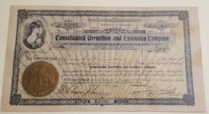 Consolidated Vermillion And Extension Company stock certificate from 1912