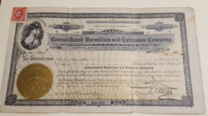 Consolidated Vermillion And Extension Company stock certificate from 1916